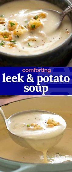 Leek & Potato Soup - Leek and Potato Soup is a thick and creamy classic French Potato Soup that starts with garlic butter - French Potatoes, French Soup, Potato Leek Soup, Recipe Tin, Soup Appetizers, Nutritious Snacks, Cooking Recipes, Soup Recipes, Clean Eating Snacks