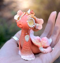 Reserved for Susan Goldfish Water Dragon by BittyBiteyOnes Polymer Clay Dragon, Sculpey Clay, Cute Polymer Clay, Cute Clay, Polymer Clay Charms, Polymer Clay Sculptures, Polymer Clay Creations, Sculpture Clay, Moldes Halloween
