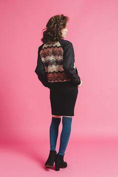 情人節客製-脈動音波-混色粗織鋪棉短版飛行外套 - NANHI 男孩 | Pinkoi