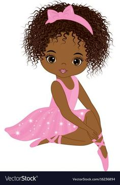 Illustration of Vector cute little African American ballerina in pink tutu dress. African American ballerina vector illustration vector art, clipart and stock vectors. Black Girl Art, Black Women Art, Black Art, Art Girl, Pink Tutu Dress, Ballerina Party, Little Girl Ballerina, Ballerina Barbie, African American Art