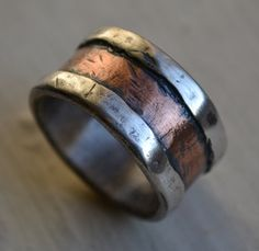 mens wedding band rustic fine silver and copper by MaggiDesigns,
