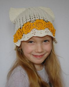 Cat ears summer panama for kid, cute crochet pussy cat hat, gift for kids Crochet Gifts, Cute Crochet, Cat Valentine Victorious, Lace Umbrella, Ear Hats, Cat Ears, Gifts For Kids, Etsy, Guy Models