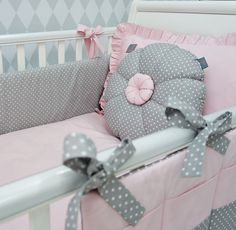 7pcs/ full set: standard flower fillings – duvet cover, pillowcase, bumper, cot tidy, decorative cushion in the shape of flower, duvet, pillow. This absolute gorgeous handmade set is a beautiful finish to every baby girl nursery.   eBay!