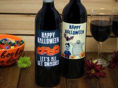 Custom Wine Label Halloween Hallowine Personalized Wine Bottle Halloween Boo, Halloween Gifts, Happy Halloween, Custom Wine Bottles, Custom Wine Labels, Personalized Wine Bottles, Red Wine, Alcoholic Drinks, Glass