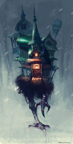 Baba Yaga, the cannibalistic witch from Slavic folklore, lives on the edge of the forest in a hut that stands on chicken legs.