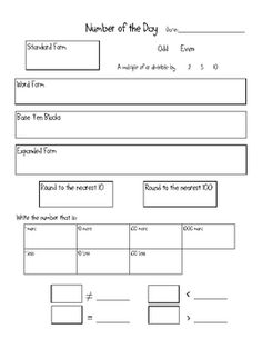 Printables Tutoring Worksheets math notebooks models and on pinterest this is a number of the day worksheet that can be adapted for grades 2
