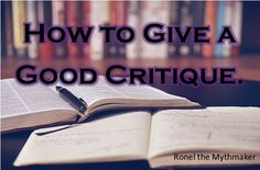 How to give a good critique.