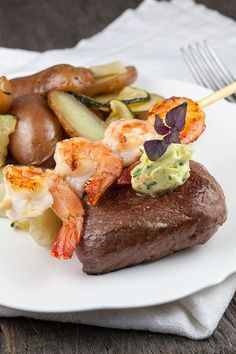 Surf and turf with herb butter; beef and shrimps or use lobster for an even more fancy recipe. Good Food, Yummy Food, Tasty, Yummy Recipes, Grillin And Chillin, Surf And Turf, Herb Butter, Your Recipe, Menu Restaurant