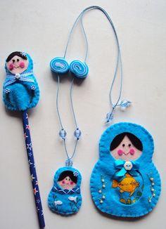 Felt Matryoshka accessories by Priscila Paula