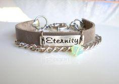 Friendship Grey Leather Bracelet.  Stamped Bracelet. Chain Bracelet. Best Friend Bracelet.