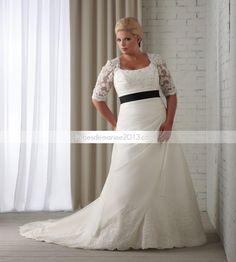 spectaculaires A-line carrés Half-Sleeve Floor-length Appliques Sash Chapelle Plus Size robe de mariée