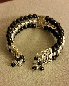 Handmade black and silver cuff bracelet