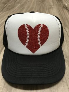 Baseball Heart Trucker Hat Heart With Laces by sunsetsigndesigns Funny Hats 8c19a32febd9