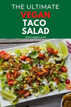 This vegan taco salad is packed with healthy protein from farro, lots of fresh veggies, and topped with a creamy cilantro lime dressing. This vegetarian and vegan friendly taco salad recipe makes a great weeknight meal. It's healthy, quick, and easy. #tacosalad #vegetarian #vegan