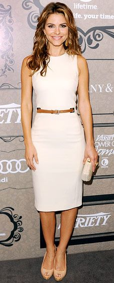 Maria Menounos = flawless in neutrals, donning a Michael Kors dress, Gucci shoes and a Rebecca Minkoff clutch.