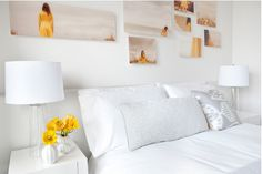 CASA TRÈS CHIC notice all white with touches of yellow brought out by the simple flowers and the dress in the images, love this idea