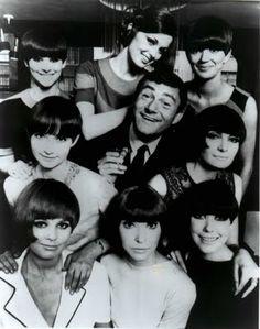 During my training Vidal Sassoon was God of hairdressing. We all aspired to be able to cut hair like he did. Seen here with some of his models and fabulous asymmetrical hair cuts.