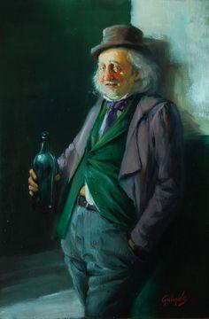 Csavargó , 30x20 cm , olaj-farost  Gulyás László