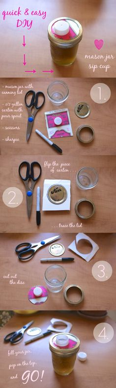 Mason jar travel cup hack using almond milk containers! From Bonzai Aphrodite