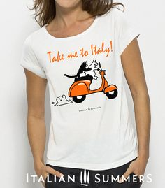 T-shirt with Italian print TAKE ME TO ITALY Vespa cats by Italian Summers. Design by Claudio Assandri and Lisa van de Pol