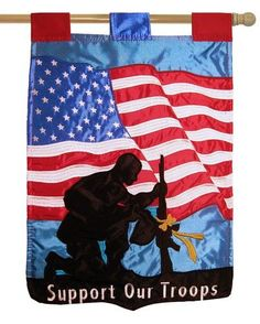 Kneeling soldier double applique house flag. Let us not forget that freedom is not free. The silhouette of this soldier engaged in solemn prayer reminds us of the tremendous price that has been paid b