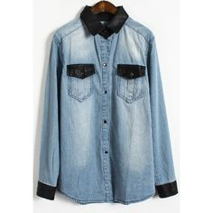 Light Blue Contrast Leather Lapel Pocket Denim Blouse ($34) ❤ liked on Polyvore