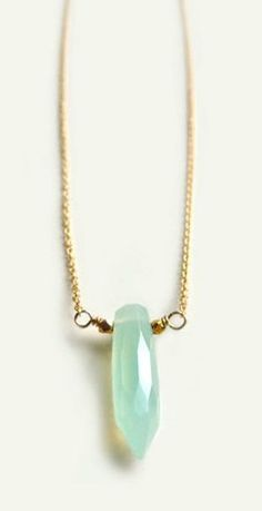 Pacific Necklace with Aqua Chalcedony Gold Fall Fashion Layering Necklace