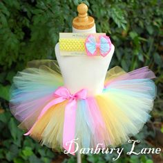 Baby Tutu only, 1st Birthday girl skirt and tutu photo prop, choose from sizes 0,3,6,9,12,18,24 months -PASTEL RAINBOW. $23.95, via Etsy.