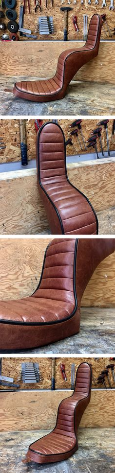 Made this king and queen seat which is going on a Shovelhead with Crazy Frank fender. Motorcycle Seats, Bobber Motorcycle, Bike Seat, King And Queen Seat, King Queen, Sportster Chopper, Vintage Style, Vintage Fashion, Bobber Style