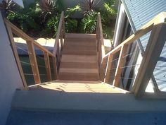 Timber Staircase next to pool