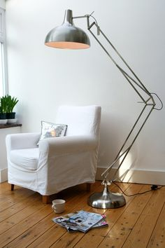 Copper Angled Floor Lamp - http://centophobe.com/copper-angled-floor ...