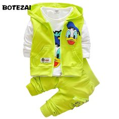 Awesome 2017 Boys Clothes Suits Cartoon Donald Duck Baby Kids Boys Outerwear Hoodie Jacket Baby Sport Boys Clothing Sets Suits - $32.4 - Buy it Now!