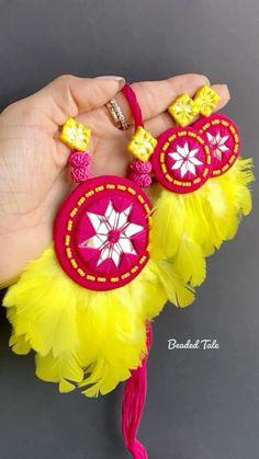 Diy Fabric Jewellery, Textile Jewelry, Diy Earrings, Earrings Handmade, Handmade Jewellery, Silk Thread Earrings Designs, Gota Patti Jewellery, Handmade Rakhi Designs, Birthday Decorations At Home