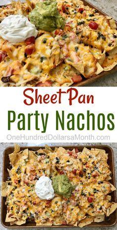 Sheet Pan Party Nachos, Nacho Recipes, Nacho Ideas, Sheet Pan Recipes, Appetizer Ideas
