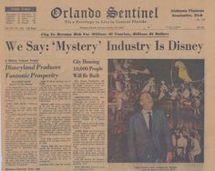 Rumors about who was buying the land spread throughout Central Florida, but it was not until the Orlando Sentinel published an article on October, 24, 1965 that the secret became known. The very next day, Walt Disney Productions gave Governor Burns permission to confirm the article.