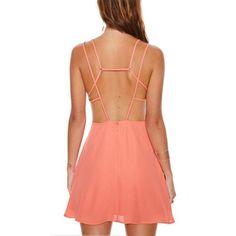 Orange Chiffon Cross Back Short Skater Dress Pretty Dresses, Sexy Dresses, Beautiful Dresses, Casual Dresses, Short Dresses, Summer Dresses, Sleeveless Dresses, Look Fashion, Womens Fashion