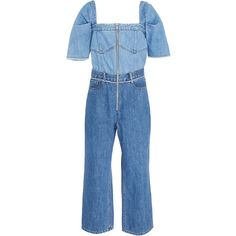 Two-Tone Denim Jumpsuit | Moda Operandi ($445) ❤ liked on Polyvore featuring jumpsuits