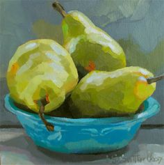 Three yellow pears in a teal dish - small format daily painting measuring x Watercolor Fruit, Watercolor Painting, Still Life Fruit, Fruit Painting, Painting Still Life, Fruit Art, Pastel Art, Acrylic Art, Art Sketchbook