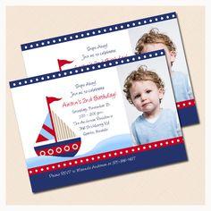 Little Sailboat Photo Birthday Invitation, Nautical birthday invitations, JPG File Digital Invitation Print your Own