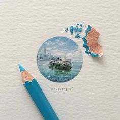 """THE STAR FERRY : ¼ Hong Kong-inspired paintings, and something we got to experience for ourselves a few days ago. You can see these 4 original pieces and a collection of prints at the """"The Power of Small"""" exhibition in collaboration with @LaMer,..."""
