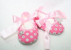 Pink and White Polka Dot  Crib Shoes Accented With by pilycouture, $8.95