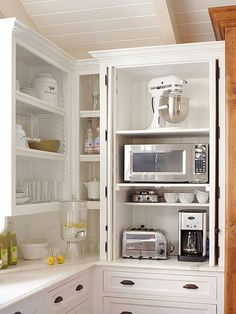 No more dragging out the toaster and coffee maker every morning! Add outlets inside a cabinet and group small appliances together: http://www.bhg.com/kitchen/storage/organization/storage-packed-cabinets-drawers/?socsrc=bhgpin022314smallappliancestation&page=20