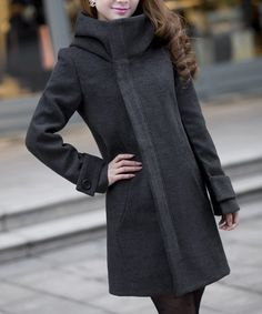 Grey Women Long Hooded Winter Coat Wool Winter Long Dress Coat L028