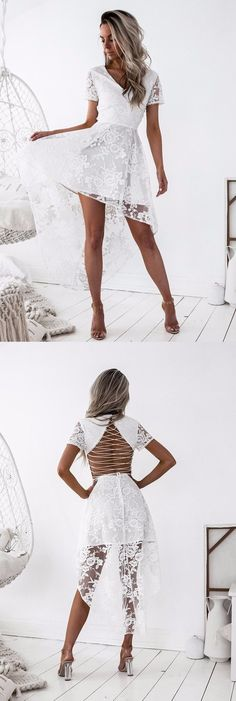homecoming dresses, white hi-low homecoming party dresses, lace open back fashion gowns.
