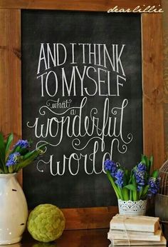 Love the idea of chalkboard signs in our home, welcoming people in, cute quote, positive reminders. Would have to use Mitch's handwriting because his is a lot nicer than mine :)