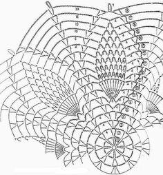 Crochet Pattern of Simple Pineapple Crochet Lace Doily Crochet Doily Diagram, Crochet Doily Patterns, Crochet Art, Crochet Round, Thread Crochet, Crochet Designs, Crochet Stitches, Free Crochet, Knitting Patterns