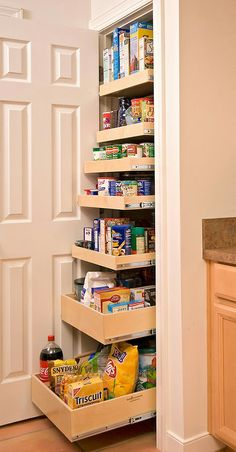 Closet: It's a closet. Nope, surprise! It the most efficient use of space you've ever seen in your life. Your pantry just got super sized thanks to a couple of roll out drawers. (via Shelf Genie)