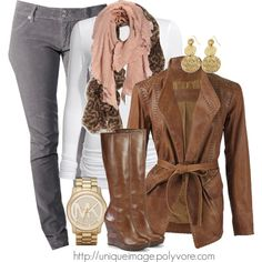 Brown jacket, white t-shirt, and layered brown scarves.