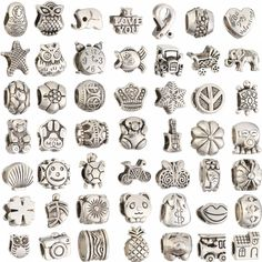 Mix Colors Metal Silver Plated Big Hole Loose Beads charm For DIY Jewelry Bracelet For European Bracelets