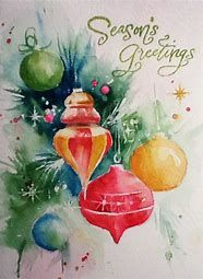 Watercolor cards christmas paintings, watercolor christmas cards y chri Painted Christmas Cards, Watercolor Christmas Cards, Vintage Christmas Cards, Christmas Art, Vintage Cards, Christmas Ornaments, Beautiful Christmas, Christmas Ideas, Watercolor Projects